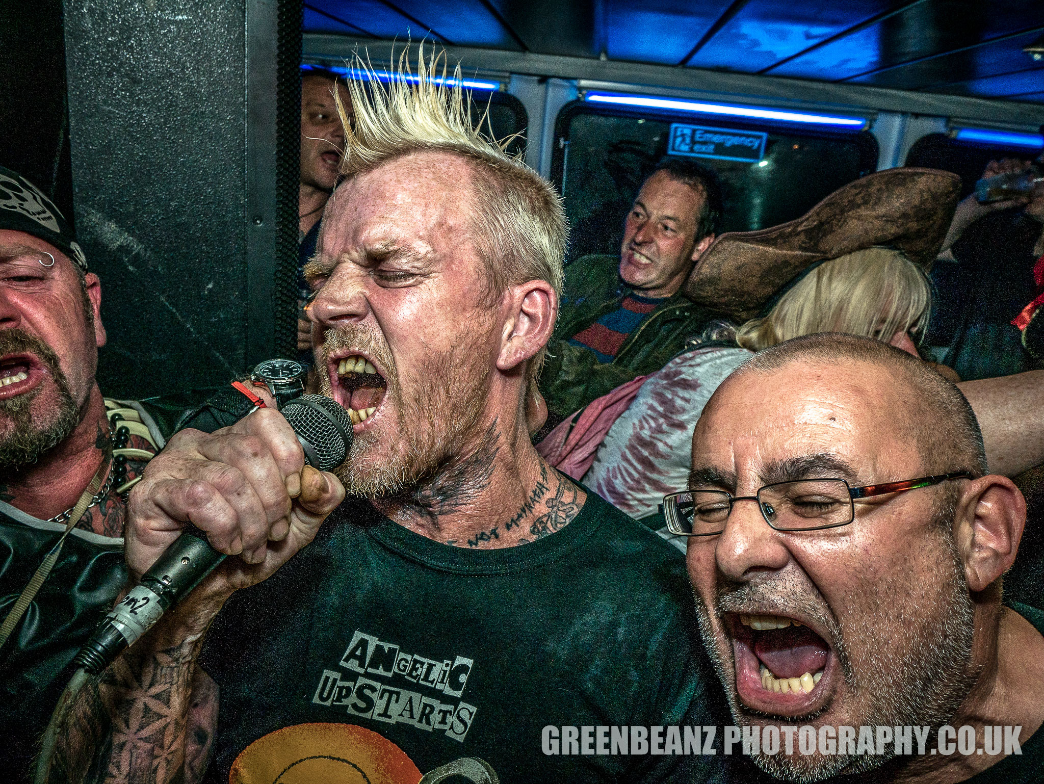 Punk fans singing on the 2017 Punks 'n 'Pirates boat trip