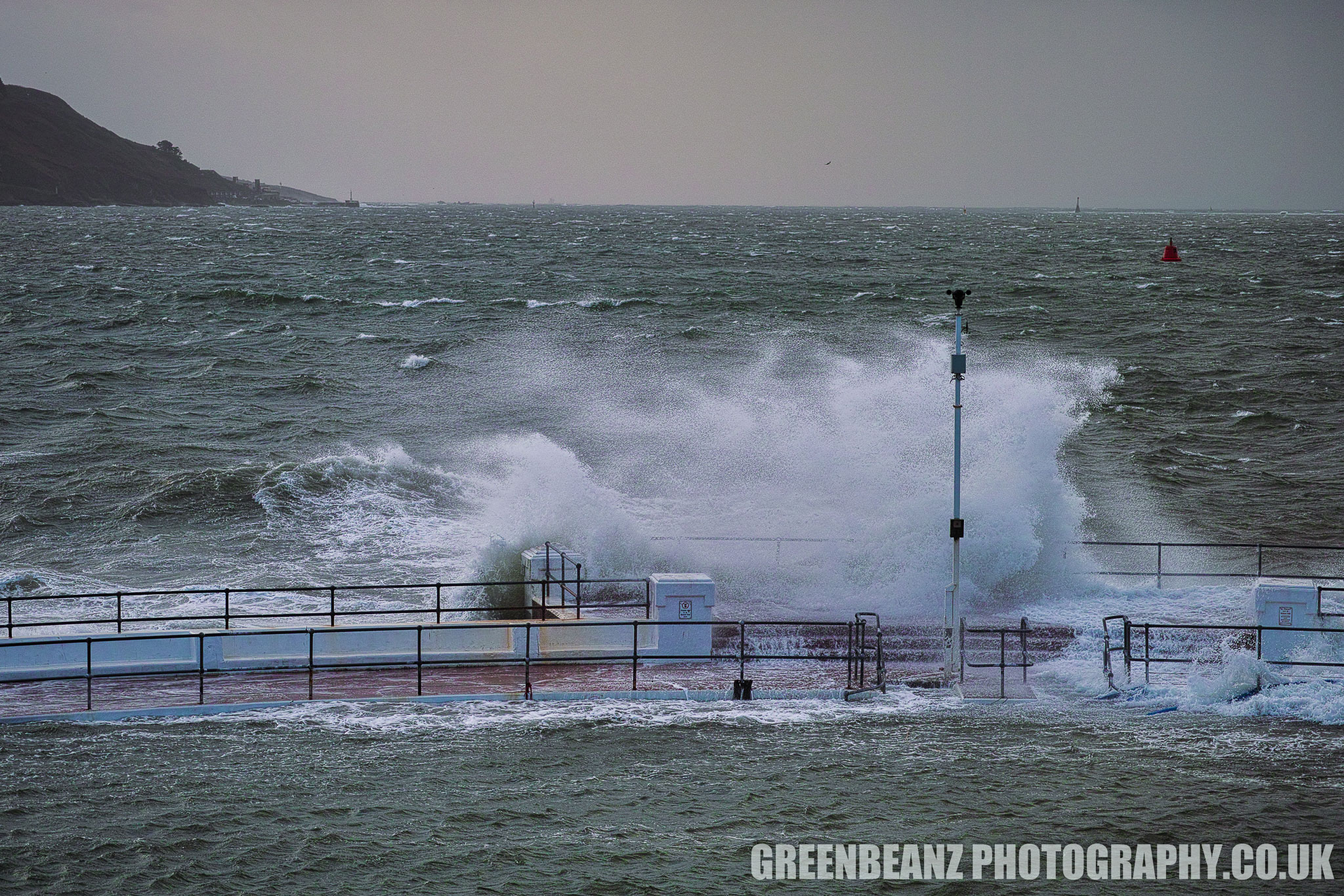 Wave hitting Plymouth Lido during Storm Brian 2017