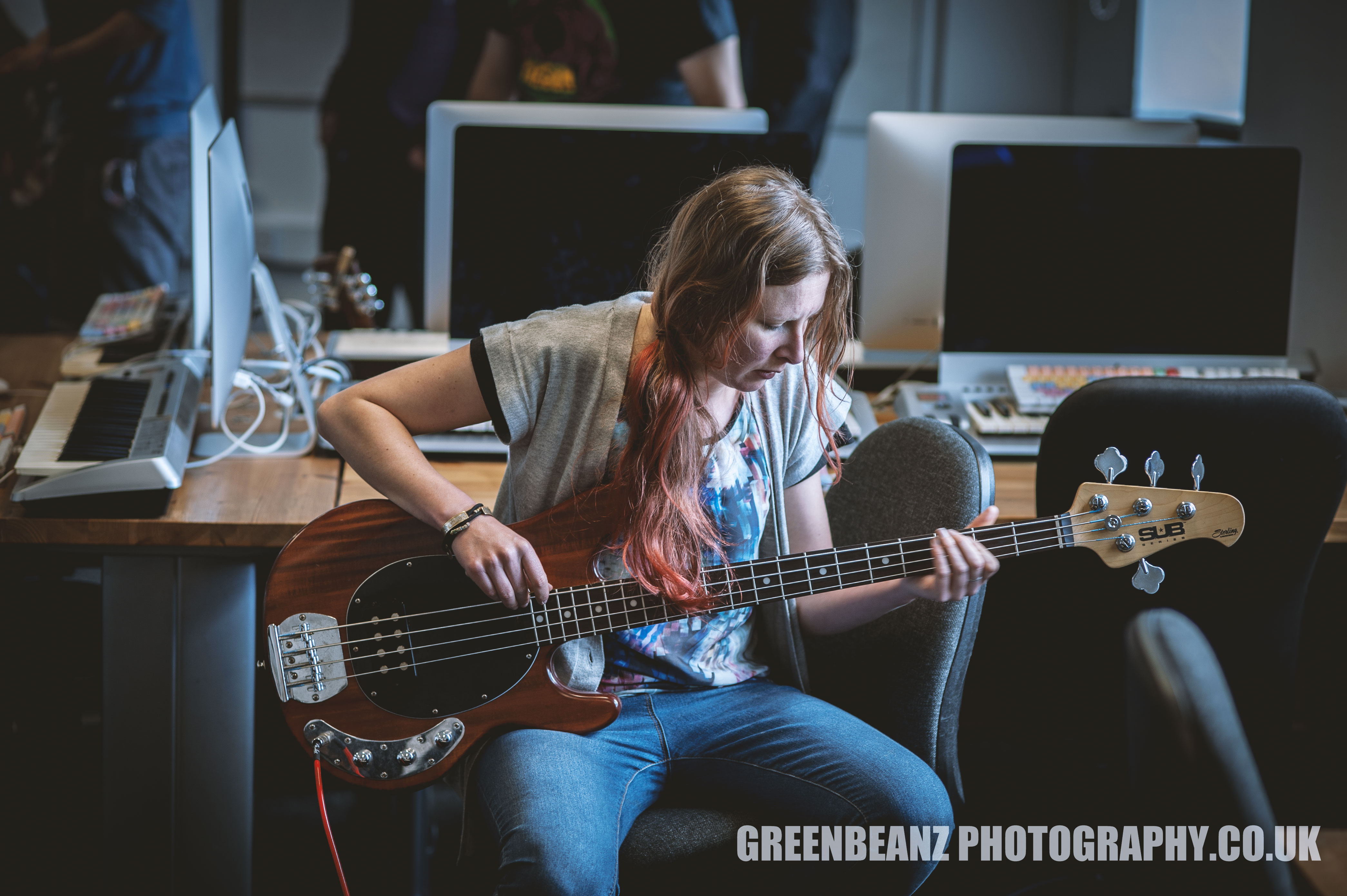 Photograph of Bass Player Helen in Plymouth Recording Studio