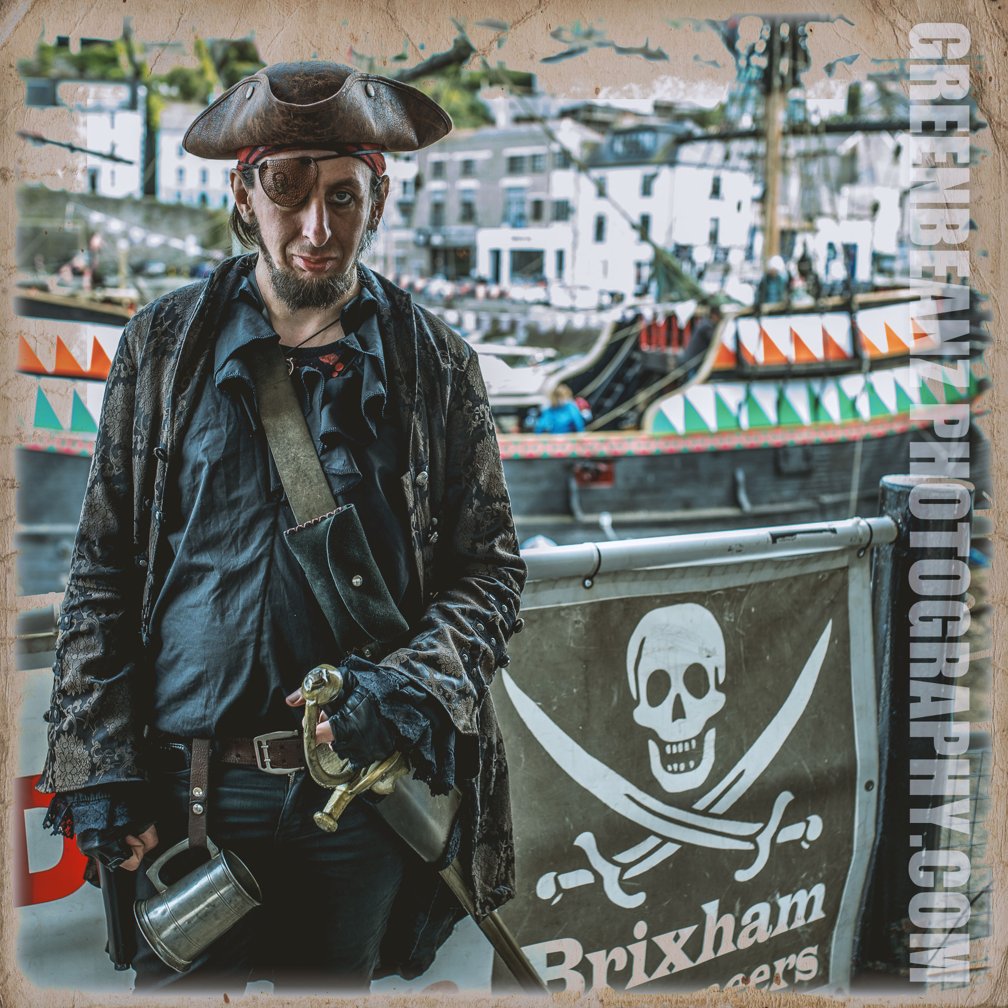 Torbay's Rich Sandford, Pirate, Actor, Model. Extra at Brixham Harbor
