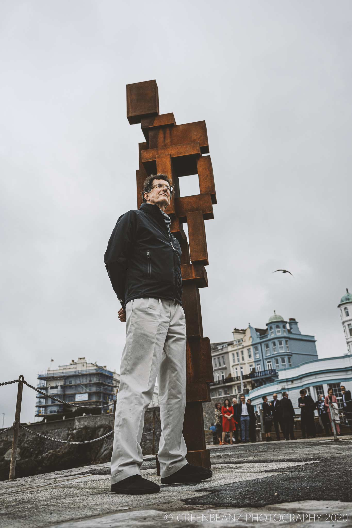 Sir Antony Gormley in Plymouth with his work 'LOOK II' 22/09/2020