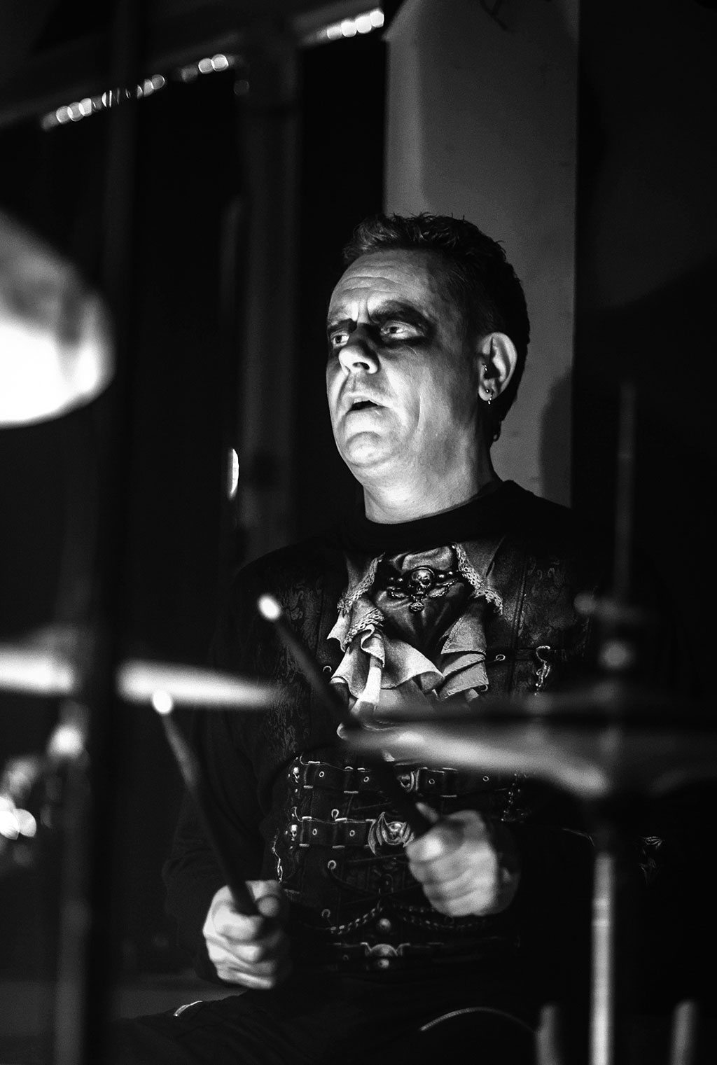UK Music Photographers Image of Live Gig showing Goth Drummer at the Voodoo Lounge Plymouth