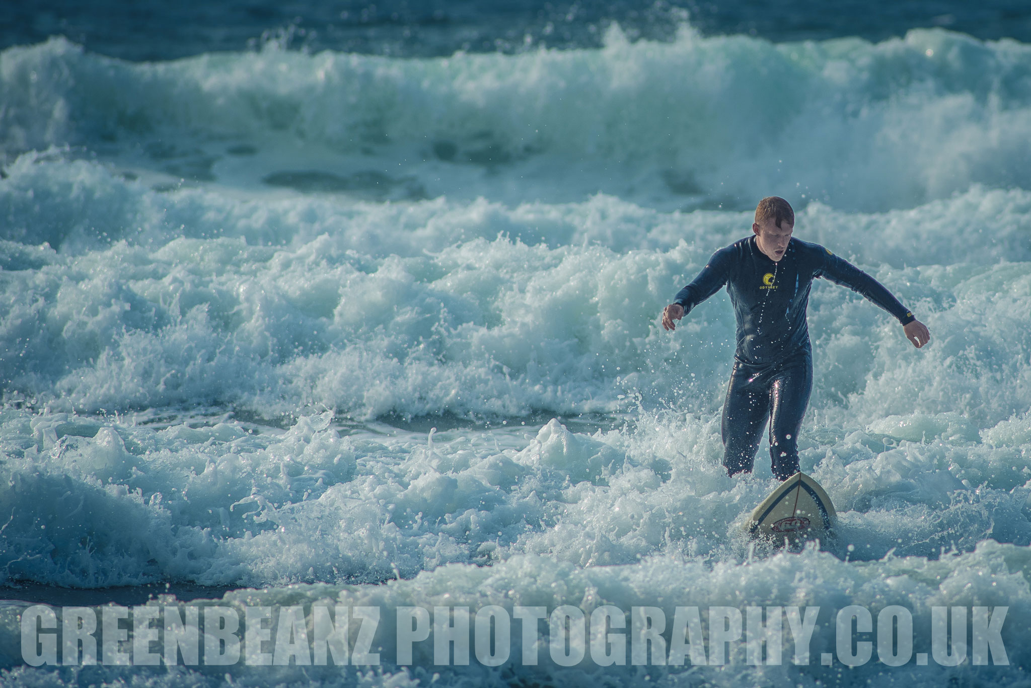 Surfer at Fistral Beach Newquay Cornwall UK Action Photography
