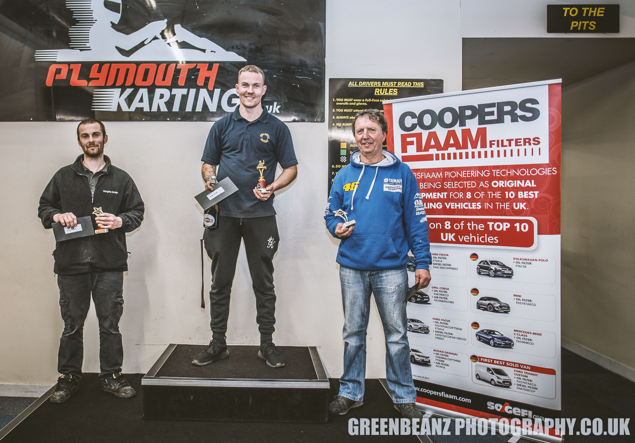The Winners Podium at at teh Coopers Fiaam Plymouth Karting event
