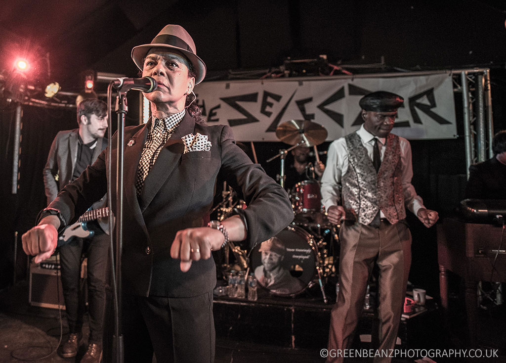 Pauline Black of UK Ska and Two-Tone band The Selecter performing in Plymouth