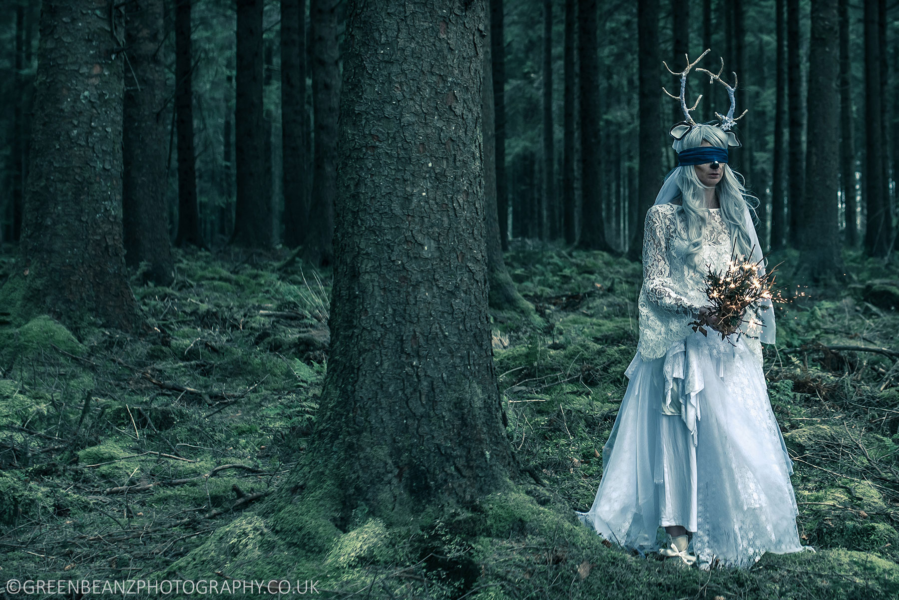 Plymouth Commercial photograph of Woman in white wedding dress in forest