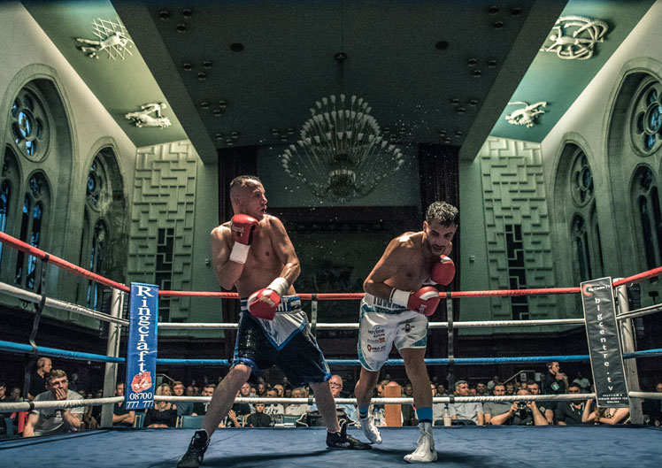 boxers fighting at Plymouth Guildhall